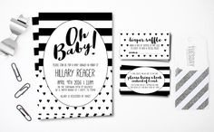 Black and White Stripes Baby Shower Invitation by ShesMyTuesday