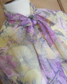 Vintage 60's St.Michael pink floral pussy bow blouse shirt size 14 mod, €15,99