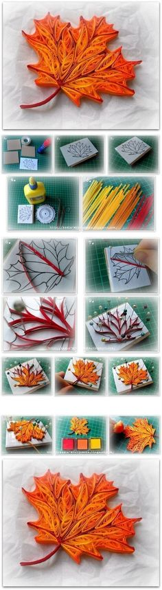 I love paper quilling! quilling a maple leaf. This makes me want to try quilling more than anything else I've ever seen. Arte Quilling, Origami And Quilling, Quilled Paper Art, Quilling Paper Craft, Quilling Designs, Origami Paper, Paper Crafting, Quiling Paper, Paper Quilling Tutorial
