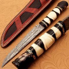 BEAUTIFUL+HANDLE+CUSTOM+MADE+DAMASCUS+STEEL+FIXED+BLADE+KNIFE(Oct1651)