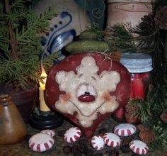 """Primitive Frosty Christmas Snowflake 7"""" Ornament Snowman Doll ★ Patti's Ratties...for ordering information contact me at pattisratties3d@yahoo.com"""