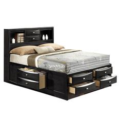 Shop Acme Furniture Ireland Black Queen Storage Bed with great price, The Classy Home Furniture has the best selection of Beds to choose from Bookcase Headboard Queen, Headboard With Shelves, King Headboard, Bookcase Bed, Black Bookshelf, Black Headboard, Wood Bookshelves, Bookcase Storage, Full Bed With Storage