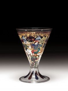 Footed Beaker with Standard-Bearer on Horseback (Copy of a Renaissance Goblet) by Venice and Murano Glass Company, about 1880-1900   Corning Museum of Glass #glass #19th cent. europe #beaker