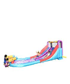 Stay cool on sizzling summer days with this colorful double water slide that brings the pep to any neighborhood party! With two side-by-side slides and dual water guns at the base, it lets little ones participate in splish-splashing fun while waiting in line. Easily inflated with a blower, it takes less than a minute to fill up and provides hours of entertainment for bitty bouncers.