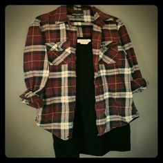 Boyfriend Flannel Oversized button down is a men's small. It's been broken in to be perfectly comfortable, and has no flaws. Durable, versatile shirt. Plaid is black, white, maroon, and a little yellow. Eddie Bauer Tops Button Down Shirts