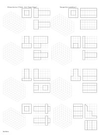 losmuertosdeldiedrico: PERSPECTIVA ISOMÉTRICA-croquis Isometric Drawing Exercises, Orthographic Drawing, Geometric Drawing, Technical Drawing, Drawing Lessons, Booklet, Art Drawings, Projects To Try, Education