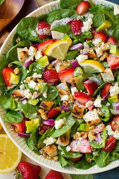Strawberry Avocado Spinach Salad with Grilled Chicken and Lemon Poppy Seed Dressing (Cooking Classy) Strawberry Avocado Salad, Avocado Spinach Salad, Spinach Salad With Chicken, Cauliflower Salad, Spinach Stuffed Chicken, Fruit Salad, Strawberry Summer, Avocado Chicken, Lemon Poppy Seed Dressing