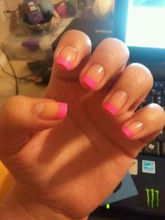 Diy hot pink french tip nails
