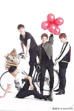 Kai, Yixing, Luhan and Baekhyun. I'm always afraid lay is gonna fall off the props, the space cadet