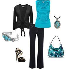 Turquoise drape top, black tie-front shrug $60, Coach purse and black platform sandals. Love the turquoise pendant!