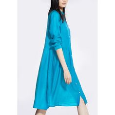 Chic Long Sleeve Pure Color Button Design Women's Dress