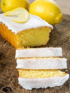 Plum cake frosted with lemon