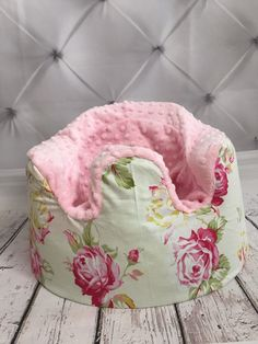 Shabby Chic with light pink minky bumbo cover