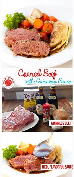 Tender Corned Beef Recipe simmered in rich, flavorful Guinness Beer Sauce. Cook vegetables in separate pot to avoid overcooked, mushy vegetables. Corned Beef Recipes, Slow Cooker Recipes, Crockpot Recipes, Cooking Recipes, Oven Recipes, Recipies, Sirloin Recipes, Fast Recipes, Recipes