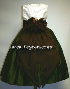 Flower Girl Dresses by Pegeen.com in Custom Olive and Semi-sweet | Style 383 by Pegeen