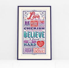 Live Simply Typographic Cross Stitch Pattern di Stitchrovia