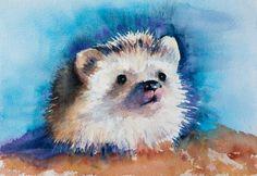 Hedgehog watercolor painting original by EbbAndFlowWatercolor