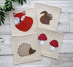 Woodland Coasters, Fabric Coasters, Drink Coasters, Fox Decor, Coaster Set, Housewarming Gift, Fabric Gift, Coffee Coasters, Mug Rugs