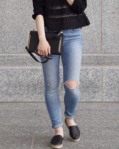 A Little Detail - Feminine Blouse & Espadrilles #myaritzia #feminineblouse #lace #denim #jeans #espadrilles #outfit #summerfashion #springfashion