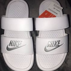 Shop Women's Nike White size 7 Sandals at a discounted price at Poshmark. Women's size Sold by Fast delivery, full service customer support. Crocs, Nike Benassi Duo, Nike Benassi Slides, Nike Slippers, Nike Sandals, Dream Shoes, Womens Shoes Wedges, Cute Shoes, Comfortable Shoes