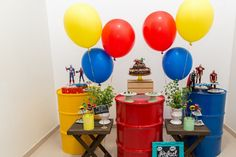 Balloon Decorations, Birthday Party Decorations, Party Themes, Birthday Parties, Party Ideas, Soccer Theme Parties, Wonder Woman Party, Superhero Party, Balloons