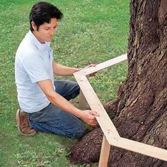 How To Build A Wrap-Around Tree Bench. I'm sooo doing this! I have a tree in my back yard with a large trunk, i think it will be fantastic!