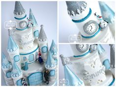 Corinne's mum wanted a more traditional castle for a more princessy . Disney Frozen Castle, Frozen Castle Cake, Frozen Theme Cake, Castle Birthday Cakes, Frozen Birthday Cake, Winter Birthday, Girl Birthday, Torte Frozen, Princess Castle