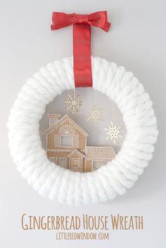 Cardboard Gingerbread House Wreath, so cute for Christmas! | littleredwindow.com