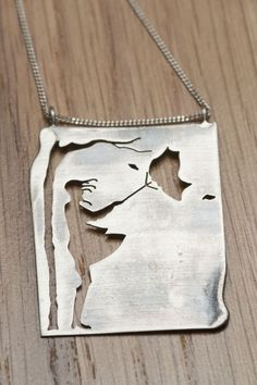 "☮ American Hippie Bohemian Style ~ Boho Necklace ""Girl in the wind"". Oxidized and brushed sterling silver"