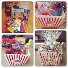 $15 DIY Date Night Christmas Basket for couples Supplies include: 2 Candies 2 Drinks 2 Cups Popcorn, Cracker Jacks and a Movie. Popcorn Movie Bucket, Plastic Cover and Ornaments.   All items bought at the Dollar Tree for $1 or less minus the movie.  Movie was bought for $5 at Wal-mart.  I have to say I was impressed with their $5 movie selection.