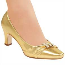 "$29.99, 2 1/4"" heel, gold, black, and silver"