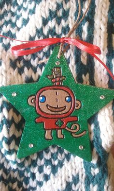 2016 Monkey Patchwork Holiday Christmas Ornament by IrieSoulCreations on Etsy
