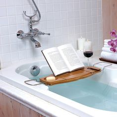 Keep all your bath and shower essentials within arm's reach as you relax with our stylish bathtub caddy. Perfect for relaxing with a good book and a glass of wine after a long day, this highly functional bathtub rack features a reading stand and grooves so your book or magazine won't slide off, a soap holder with strainer so water won't collect, grooves on the backside to hold your razor, and the perfect holder for your wine glass. Simply slide your wine glass into the grooves on the end and…