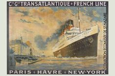 View this item and discover similar for sale at - Original vintage travel poster advertising Paris - Le Havre - New York cruises by Compagnie Generale Transatlantique French Line (founded CGT). Wall Art Pictures, Print Pictures, Contemporary Art Gallery, Picture Frame Art, Culture Art, Art Français, Retro Poster, Graphic Artwork, New York