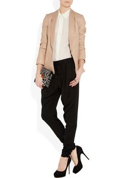 Love this Vince neutral blazer and it's leather and the rest of the outfit.