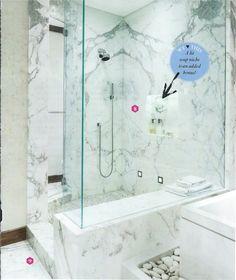 master bath:marble slab shower!