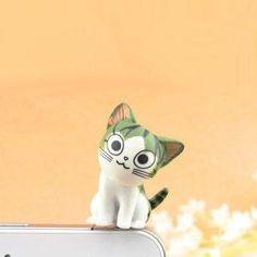 $5.99 Anti-Dust Plug - 3.5mm Earphone Jack Cartoon Green Cat Series