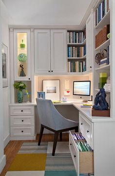 An Awesome Quiet Work Space With Built In Home Office Cabinet
