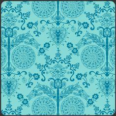 Art Gallery Stoff Ornament Deko türkis Imperial Turquoise Bazaar Style  0,5 m reine Baumwolle