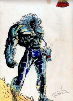 """O Fera, em uma versão alternativa de um futuro alternativo da saga """"A era do Apocalips"""". O bixo ficou medonho né não? Esse ai foi 90% lápis de cor!"""