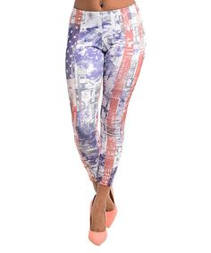 Another great find on #zulily! White & Blue Fade American Flag Leggings - Women #zulilyfinds