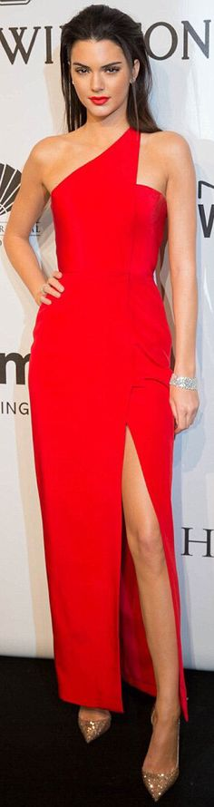 Kendall Jenner wearing a red Romona Keveza gown