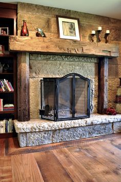 Traditional-Antique-Fireplace-Mantels-with-Rough-Texture-Installed-over-the-Mantel-Mixed-with-Hard-Beams-as-Frame.jpg (650×976)