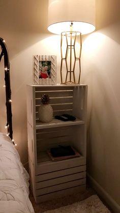 35 trendy wooden crate nightstand diy home decor Wooden Crates Nightstand, Diy Wooden Crate, Diy Nightstand, Wood Crates, Wooden Crate Furniture, Bedside Tables, Wooden Boxes, Wood Crate Shelves, Nightstands