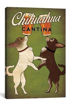 iCanvas Chihuahua Cantina by Ryan Fowler Canvas Print