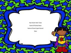This power point has a green paper with blue star background and either a boy, girl or star on each page.  There are 4 covers to choose from so you can choose what boy or girls begins your presentation.  There are also 3 blank pages to duplicate and type what you want on them.