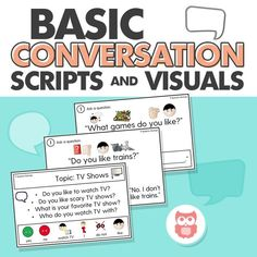 Leveled visuals to target basic conversation skills for students with autism. Perfect for speech and language therapy sessions! Target social skills with this easy, print and go activity! From Speechy Musings.