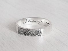 Personalized Fingerprint Ring - Actual Fingerprint and Handwriting Ring - Mother's gift FR02F
