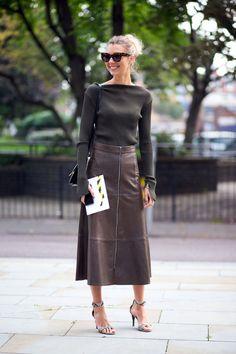 London Fashion Week Spring 2015 Street Style - Zara leather skirt