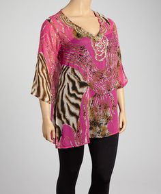 This Fuchsia & Tan Animal Beaded V-Neck Tunic - Plus by Life and Style Fashions is perfect! #zulilyfinds